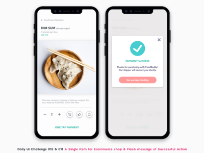Ecommerce App Payment minimalist mobile app mobile mobile payment payment one tap payment one click payment dimsum success message flash message food app ecommerce
