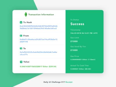 Receipt ethereum success blockchain dailyui dailyuichallenge receipt