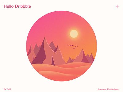 Hello Dribbble sunset shot first dribbble illustration