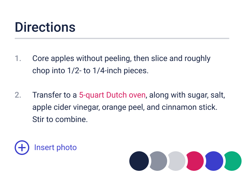 Recipe Instructions swatches layout recipe color palette color typography