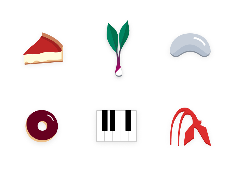Chicago Icons piano cloud gate chicago bean calder sculpture piano keys donut deep dish pizza ramps chicago