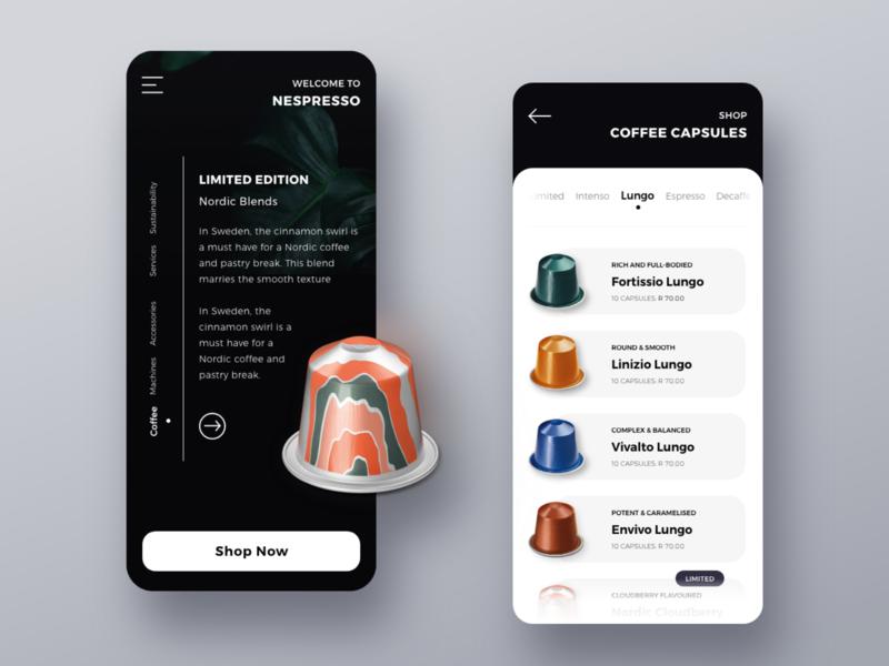 Nespresso Coffee shop store dark nespresso capsules coffee design ux ui mobile android ios userinterface digital design application app