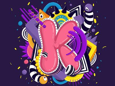 K logo design typography digital illustration art digital 2d dibujo photoshop illustration colors