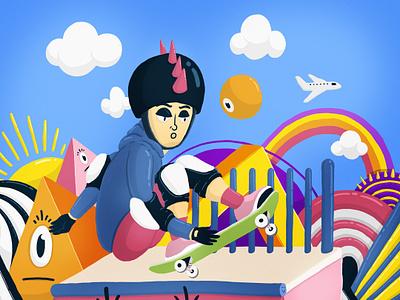 Skater sk8 skate digital illustration art digital 2d dibujo photoshop illustration colors