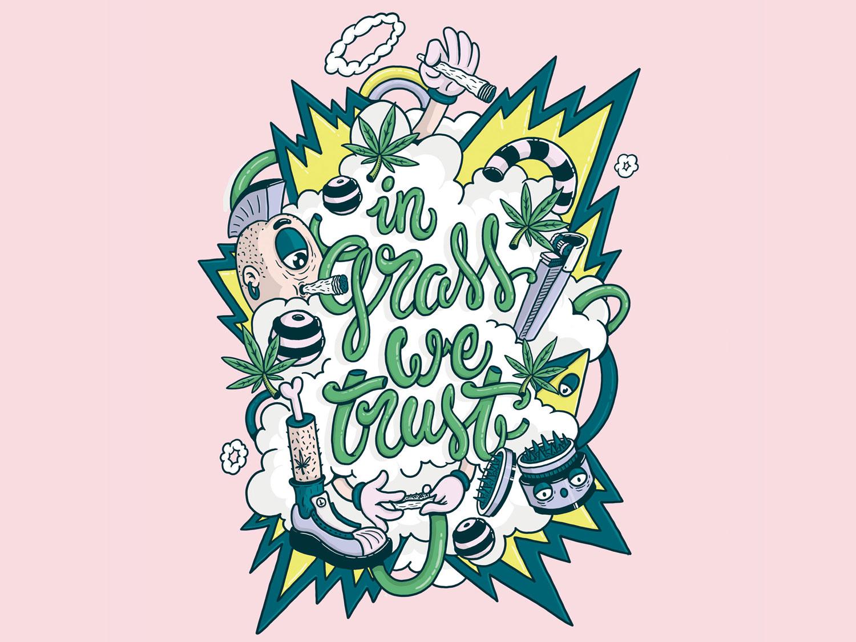 Ingraswetrusth grass weed smoke marihuana maria typography lettering design dibujo illustration art digital photoshop illustration digital 2d colors