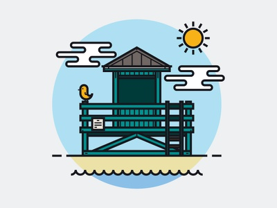 Lifeguard sun lifeguard beach illustration vector lineart