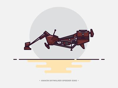 Spedeer 1 lineart speeder vehicle bike outline vector star wars illustration