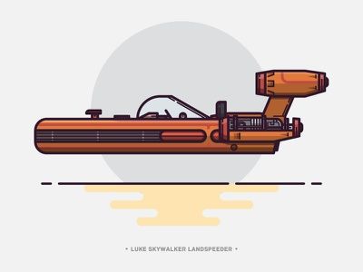 Luke Skywalker Landspeeder lineart speeder vehicle bike outline vector star wars illustration