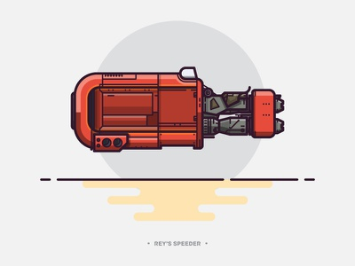 Rey's Speeder lineart speeder vehicle bike outline vector star wars illustration