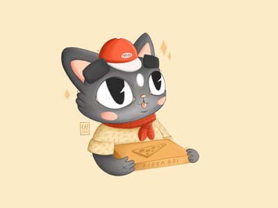 Pizza Boi kidlit style retro vintage food sketch drawing procreate digital art textile kitty cute scout character design illustration boi delivery boy pizza cat