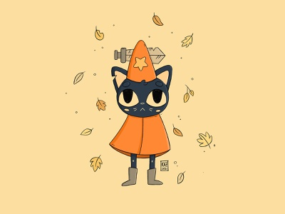 Mae in May 🍂🍁 illustration cat sword witch nintendoswitch nintendo fanart videogame cosplay costume autumn leaves fall autumn halloween mae