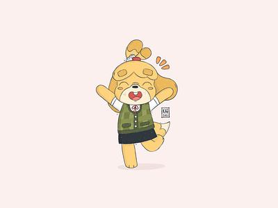 Isabelle  しずえ shizue dog fan art cute gaming sketchbook procreate cartoon illustration new horizons nintendo switch しずえ isabelle character design fanart animal crossing