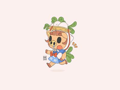 Daisy Mae  ウリ cartoon cute gaming nintendo pig fan art new horizons sketchbook daisy mae procreate illustration character design fanart animal crossing