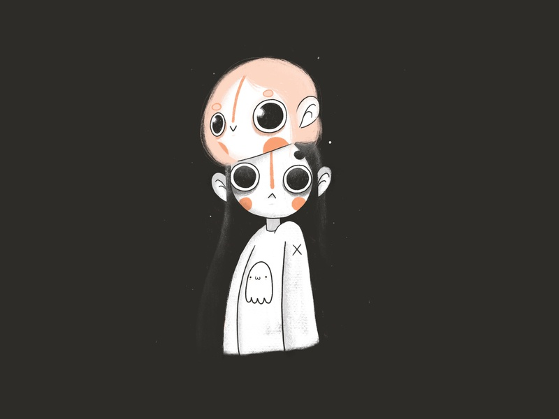 Final Inktober : Slice slice ghost gif kawaii cartoon kazmology character design ink illustration design character art girl procreate ink illustration inktober