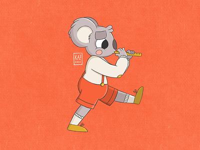 Blinky Bill kazmology koala flute cartoon illustration character design fires bushfires australia blinky bill