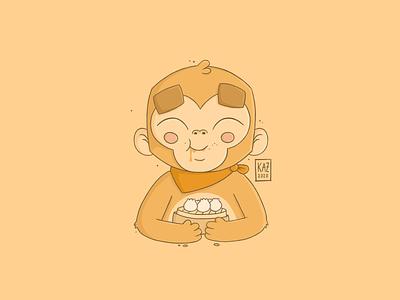 Saru Mo Ki Kara Ochiru kazmology cute cartoon japanese japan food character design art kidlit digital art illustration bao dumplings 猿 monkey monki