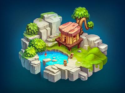 Game Level wood stone rpg ios icon house grass game world island level
