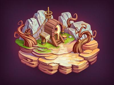 Game Level level island world game grass house icon ios rpg stone wood