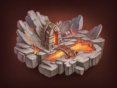 Game Level hell lava stone rpg ios icon house game world island level