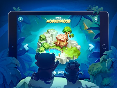 Level Screen ios jungle monkey tiger tablet island character level game