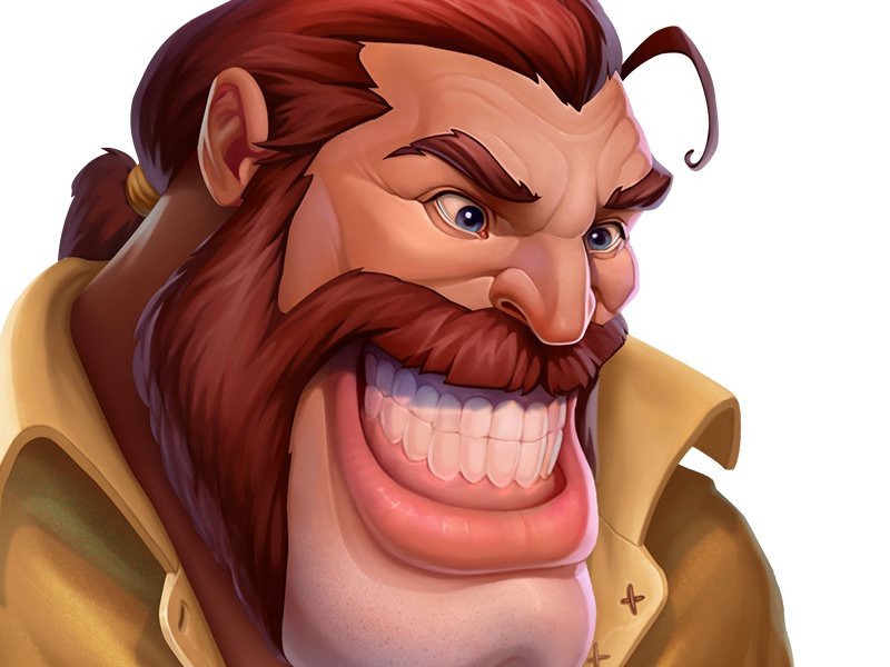 Character Avatar concept game poker ios grin man smile avatar warrior design character