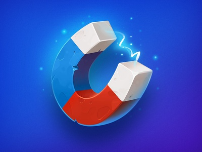 Magnet asset illustration blue red concept element powerup magnet icon object game