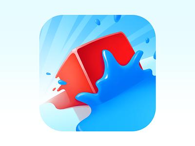 Splashy Cubes App Icon 2d gamedev art illustration ios render appicon blue red splash design cube game icon