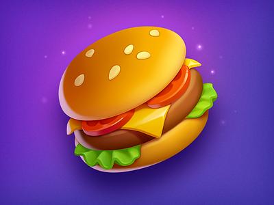 Burger cheeseburger object hamburger asset art fast food game icon game slot burger food illustration icon symbol