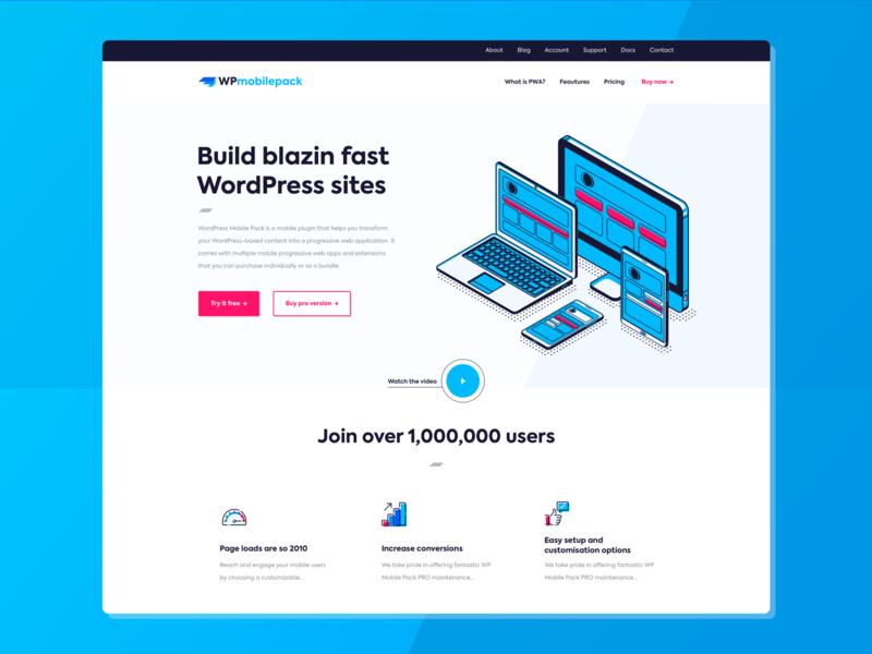 Homepage WPmobilepack icons illustration pink vector logo branding blue redesign webdesign uiux ux ui design desktop homepage