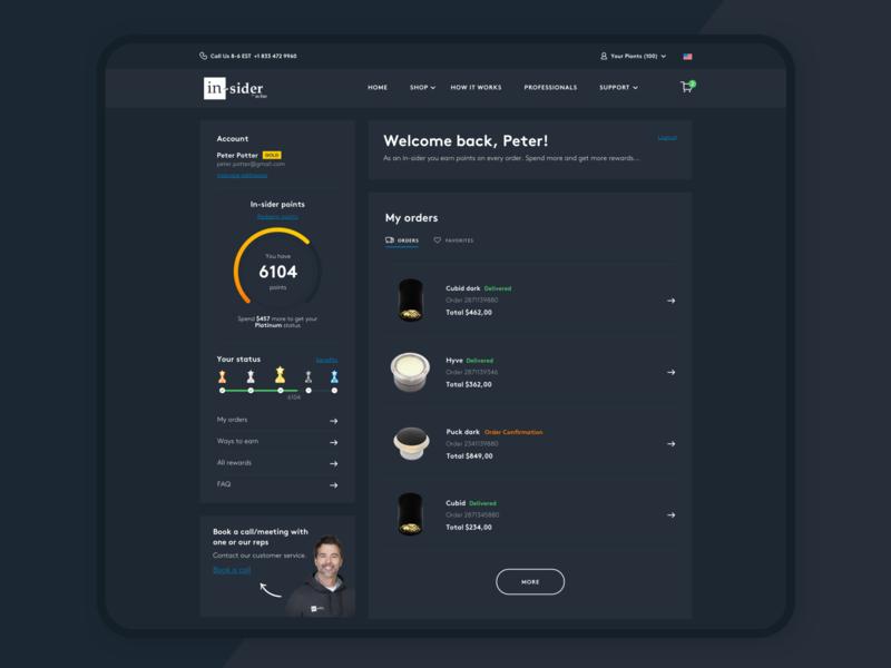 Dashboard In-Sider darkmode ux ui dashboard ui stats statics profile platform minimal landing interface illustration points app design data dashboard chart app account