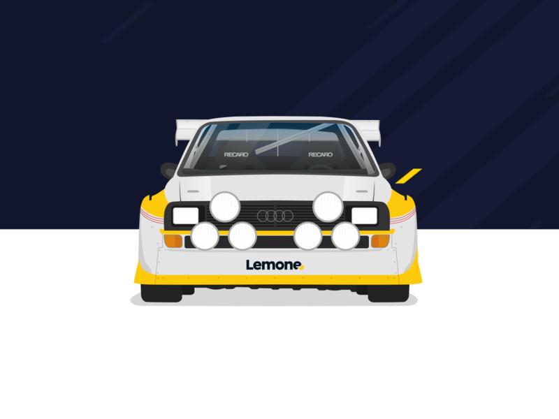 Audi Sport Quattro S1 1985 car illustration blue yellow design flatdesign flat rally audi illustration vector car