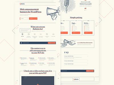 Bulletin - WordPress Landing Page styles old layout website landing page wordpress wordpress theme branding illustration webdesign ui ux desktop ux ui vector design