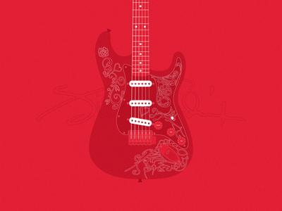 Jimi Hendrix Monterey Guitar stratocaster redesign desktop design guitars electric guitar fender vector illustration red guitar