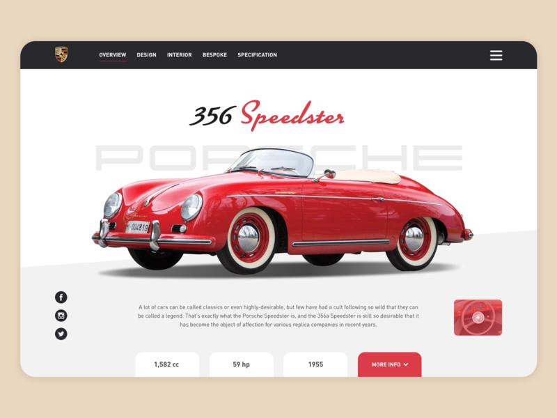 Hero Porsche 356 Speedster branding porsche hero image car webdesign ui ux ux ui desktop vector design hero