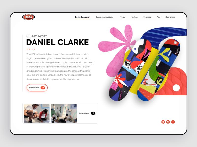 Hero Real skateboards blue red colors skateboarding skateboard branding redesign webdesign ux ui desktop vector design website