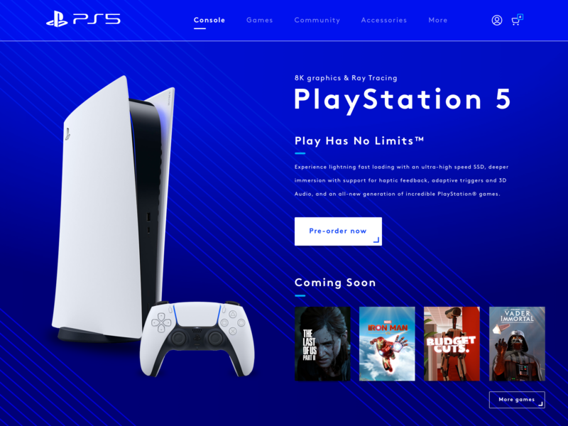 PlayStation 5 gaming blue product ps5 playstation5 console branding redesign ui ux webdesign ux ui desktop vector design