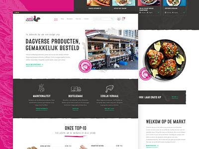 Chicken Marketplace website chicken wings market marketplace pink chicken branding redesign illustration ui ux webdesign ui ux desktop vector design