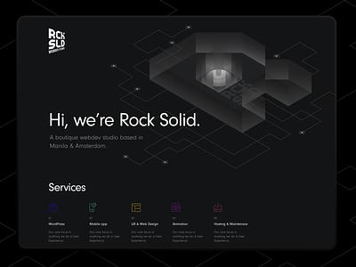 Rocksolid Landing Page redisign webdesign design vector ui ux isometric design illustration