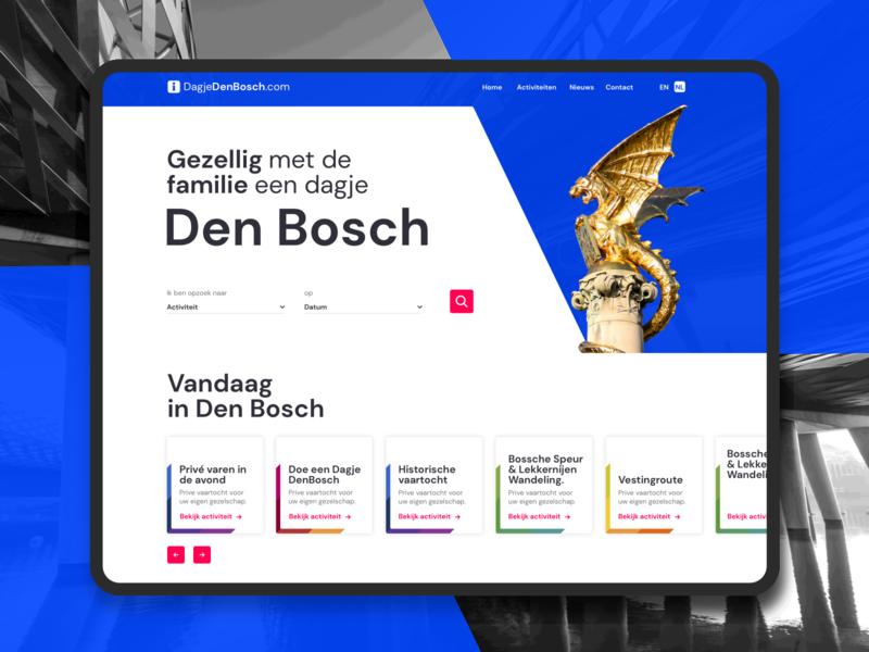 homepage dagjedenbosch desktop gold red blue redesign homepage ux ui