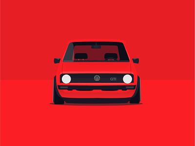 Volkswagen Golf MK1 golf vw flat design red volkswagen car vector illustration
