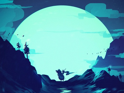 Boar Rider sketch mountain tree bird atmosphere blue night digital illustration painting animal moon