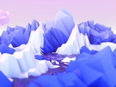 Fluffy Low Poly Mountains ambient occlusion low poly gradient cloud 3d cinema4d minimalistic white blue pastel nature mountain