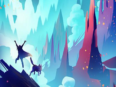 Salvation particle character girl rock mountain island cloud gradient concept landscape illustration painting