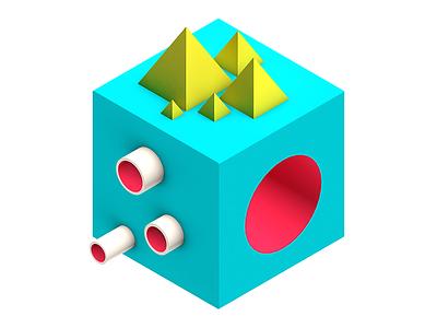 Ludicious Cube gradient colorful isometric pyramide cube polygon 3d minimalistic icon