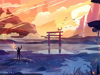 Torii Painting #1 atmospheric flat environment character fox sun nature illustration art artwotk painting