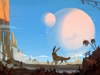 Twin Planets - Personal Piece concept conceptart photoshop painting art digital