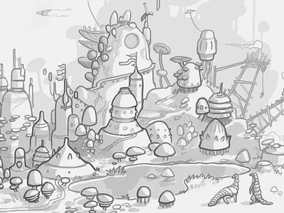 Scribble city lineart animal building landscape illustration conceptart sketchbook sketch procreate idea concept
