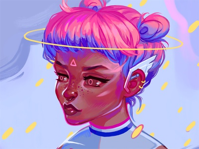 Space Girl pink blue colorful digital painting character design character illustration 2d space