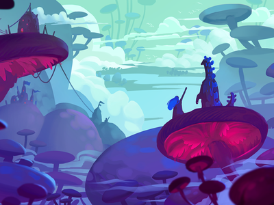 Concept Art mushroom neon environment design game landscape photoshop art digital 2d painting illustration