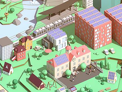 ewz Visual cinema 4d illustration car art tree vehicle train house city landscape low poly isometric 3d